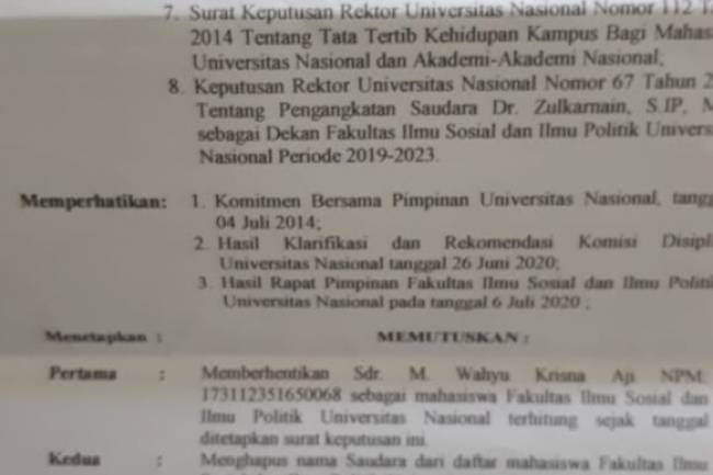 Buntut Demonstrasi Menuntut SPP, Mahasiswa Unas di-DO