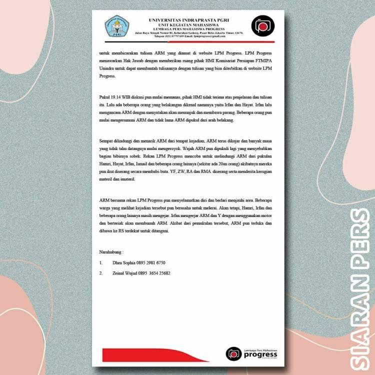 Siaran Pers Kronologi Tindak Kekerasan yang Dilakukan Oknum HMI Komisariat Persiapan FTMIPA Unindra