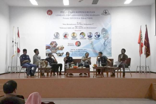Bicara Toleransi dalam Diskusi dan Pelantikan LPM Marhaen