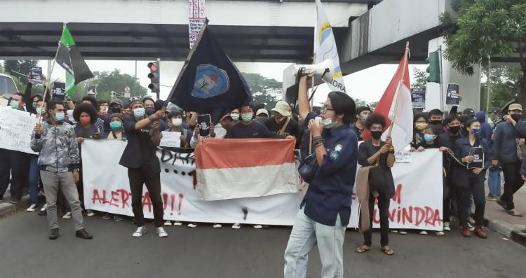 Aksi Penolakan Mahasiswa Unindra terkait Disahkannya UU Ciptaker